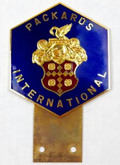 Vintage Brass & Enamel Packards International Car Club Badge 6.5""