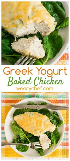 Juicy baked chicken is marinated in herbed Greek yogurt and topped with melty cheese!