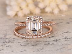 Moissanite Engagement Ring,2 rings set,6x8mm Emerald Cut,Diamond Wedding Band,14K Rose Gold,Halo Design,Half Eternity,Wedding Bridal Set