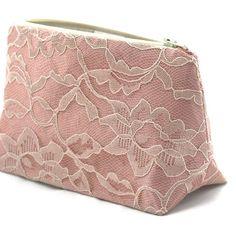 Lace Bridesmaid Gift Rose Pink Satin & Vintage by JordaniSarreal, $13.95