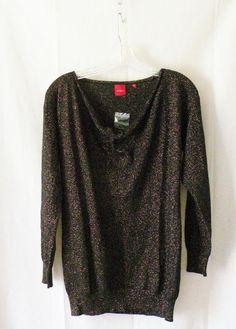 NWOT Saks RED Label Cashmere Metallic Thread Cowl Neck Sweater Sz M 6/8 #Saks #CowlNeck