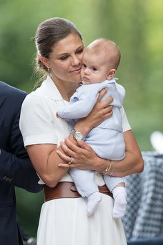 Crown Princess Victoria of Sweden and Prince Oscar of Sweden arrives for Birthday celebrations of Crown Princess Victoria of Sweden at Solliden...