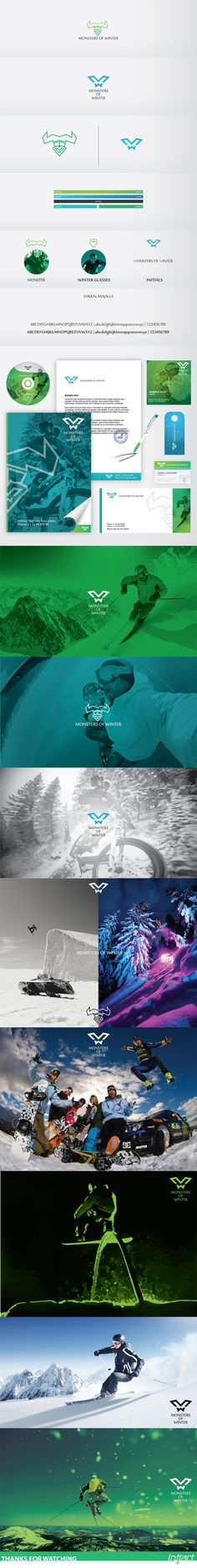 Monsters of Winter / Logo by Gent Osmani, via Behance. Monsters of Winter / Logo by Gent Osmani, via Behance. Identity Branding, Brand Identity Design, Graphic Design Branding, Corporate Design, Corporate Identity, Visual Identity, Logo Design, Typography Logo, Logos