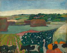 Haystacks in Brittany by Paul Gauguin in oil on canvas, done in Now in a private collection. Find a fine art print of this Paul Gauguin painting. Paul Gauguin, Kandinsky, National Art, National Gallery Of Art, Art Gallery, Henri Matisse, Landscape Art, Landscape Paintings, Monet