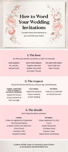 Wedding Quotes : Wondering how to word your wedding invitations? Consider who's hosting and how Wedding Quotes : Picture Description Wondering how to word your wedding invitations? Consider who's hosting and how formal your celebration will be. See Wedding Planning Tips, Wedding Tips, Diy Wedding, Wedding Favors, Wedding Ceremony, Dream Wedding, Wedding Day, Wedding Themes, Quirky Wedding