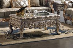 Homey Design HD-1101 Classic European Silver Coffee Table For $500