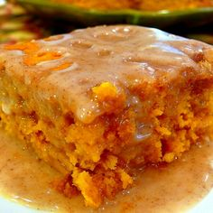 Two-Ingredient Pumpkin Cake with Apple Cider Glaze - try making with a spice cake rather than yellow for more flavor - also probably good with added raisins or toffee chips
