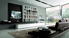 Wall hung TV unit and bookcase. Also with hidden floor storage. : TV stands & cabinets by Lamco Design LTD