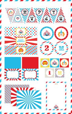 Circus carnival party pack - Editable text Pdf - Diy printable set - INSTANT…
