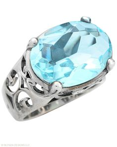 Pay tribute to generations past with this stunning Sterling Silver and Aqua Glass Ring. Whole sizes 5-11. #Silpada