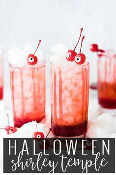 Shirley Temples are a delicious chilled fizzy drink. Gingerale, Grenadine, lots of ice and top with a cherry! A classic from your childhood dressed up for holidays, or fun evenings with friends and family. EVERYONE is sure to love this shirley temple recipe. We've made this on a little spooky for Halloween season, but leave the candy eyes out for a classic shirley temple drink. || Oh So Delicioso