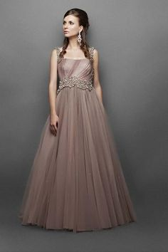 2aebb9164054 Have a look at this divine Light Brown Indo Western Gown. It has  asymmetrical silver