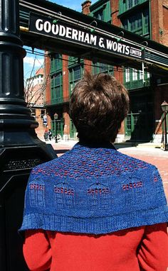 "For the Stealth Geek -- ""Bigger on the Inside"" -- a tasteful little Tardis lace shawlette, suitable for professional office wear.  free on Knitty."