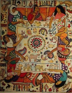 Women sewing, St Mary's, India For Paperlink 1992 Nakshi Kantha embroidery from Bangladesh For calendar for Oxfam, 1993 Indian Embroidery, Embroidery Art, Embroidery Stitches, Embroidery Designs, Bengali Art, Arte Judaica, Art Tribal, Embroidered Quilts, Indian Folk Art