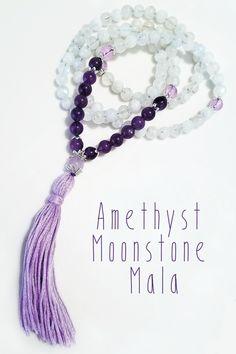 Amethyst + Moonstone 108 Bead Mala