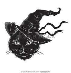 Image vectorielle de stock de Black Cat Pointy Witch Hat Line 1296984190 Black Cat Drawing, Black Cat Painting, Tattoo Gato, Witchcraft Tattoos, Peaky Blinders Poster, Black Cat Tattoos, Gothic Tattoo, Cat Vector, Witch Cat