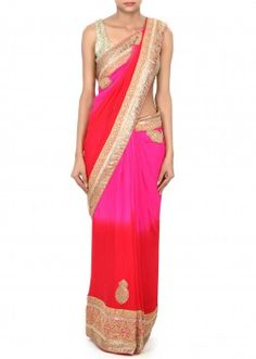 Shaded saree in pink and red enhanced in kundan and zari border only on Kalki