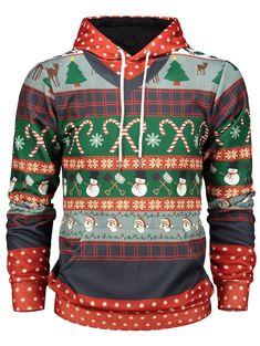 61bb710e9e4e Christmas Tree and Snowflake Print Pullover Hoodie - RED XL  Kapuzenpullover