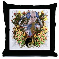 Cute Fairy Pentacle Triple Moon Throw Pillow