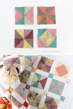 Quilt block ideas using Half Square Triangles - picture from Shannon Fraser Quilting Tips, Quilting Tutorials, Quilting Projects, Quilting Designs, Half Square Triangle Quilts, Modern Quilt Patterns, Quilt Labels, How To Finish A Quilt, Quilt Top