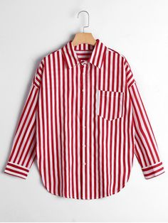 6127856c3fb0 Button Up Drop Shoulder Striped Pocket Shirt - RED STRIPE M Shirt Blouses