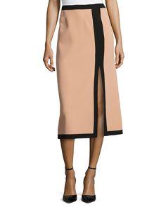 Michael Kors Slit-Front Two-Tone Midi Skirt, Suntan