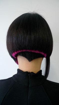 Black Short hair with a pink stripe
