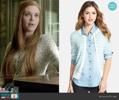 Lydia's geometric patterned cardigan and chambray skirt on Teen Wolf. Outfit Details: http://wornontv.net/50436/ #TeenWolf
