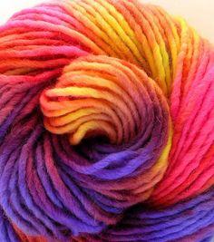Hand Dyed Bulky Wool Alpaca Roving Yarn- Neon Lights