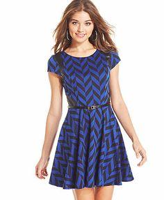 City Studios Juniors' Printed Belted A-Line Dress