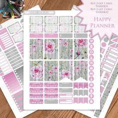 Roses Planner Stickers Printable Floral by PrintThemAllStudio