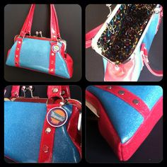 Pink and Turquoise Glitter Kisslock Handbag by Disgraceland, $45.00