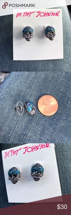 Brand new Betsey Johnson skull earrings Brand new Betsey Johnson blue and black bling skull earring studs. These are so freaking awesome! Small yet statement piece. No Trades no holds. Betsey Johnson Jewelry Earrings