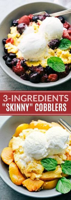 Lower calorie cobblers (berry and peach) that make a delicious and lighter summer treat! The peach cobbler requires only THREE ingredients