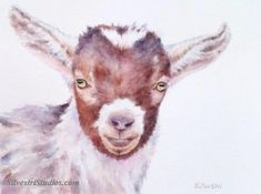 """""""Nutmeg"""", watercolor goat painting by animal artist Teresa Silvestri.  Original sold, but prints & cards available."""