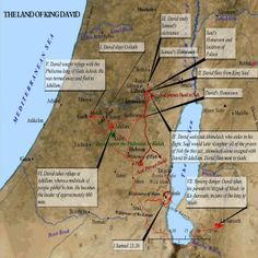 Most of the Biblical narrative took place in Egypt, Israel, Syria and Jordan. This Old Testament map highlights the life of King David and where certain events took place.