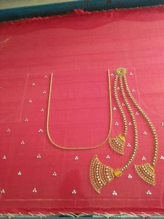 Work design by Prachi for silk plain saree Hand Work Blouse Design, Simple Blouse Designs, Stylish Blouse Design, Saree Blouse Neck Designs, Dress Neck Designs, Bridal Blouse Designs, Sleeve Designs, Mirror Work Blouse, Maggam Work Designs