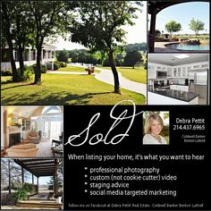 SOLD Debra Pettit Sell North Texas Selling homes, ranches & commercial properties Van Alstyne, Melissa, Anna, Gunter, Howe, Whitewright, Trenton, Sherman, McKinney Follow on Facebook @ https://www.facebook.com/pages/Debra-Pettit-Real-Estate-Coldwell-Banker-Benton-Luttrell/158019984260981