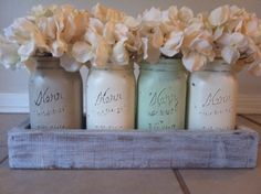 Rustic Mason Jar and wood box table Centerpiece wedding shabby chic distressed vase Green/Brown by lilykayy on Etsy https://www.etsy.com/listing/121462789/rustic-mason-jar-and-wood-box-table