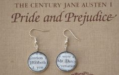 Pride and Prejudice book page earrings - Mr Darcy and Elizabeth - Jane Austen