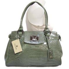 David Jones Patent Croco Frame Handbag
