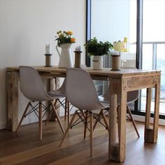 Cheap home decor, diy home decor, wooden pallets, wooden pallet crafts, rec Decor, Wooden Pallet Crafts, Diy Table, Palette Table, Dining Table, Home Decor, Scandinavian Style Interior, Pallet Dining Table, Pallet Table