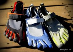 """KSO Vibram FiveFingers - ~2007 toe shoes released with the original five-toed Vibram sole but with a closed-in upper to """"keep stuff out;"""" these Vibrams really exploded the concept of a """"barefoot shoe"""" and were the best selling VFFs for at least a couple years, particularly among men.  Photo from a guide to the model."""