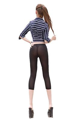 d5e2c2e0ca3fc9 LinvMe Women's Sexy See Through Cropped Leggings Tight Pants at Amazon Women's  Clothing store: