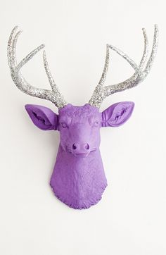 The Sophia | Stag Deer Head | Faux Taxidermy | Lavender Resin W/Silver Glitter Antlers