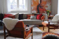 Cozy room perfect for autumn. Tylosand 3 seater sofa cover in Tegnér Melange Sand Beige. Cushion covers in Real Red Panama Cotton, Tegnér Melange Burnt Orange, Unbleached Linen, Chocolate Brown Panama Cotton. www.bemz.com