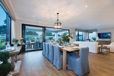 Open plan dining in the Plaza with a Champagne France World of Style. Champagne France, Porter Davis, Storey Homes, New Home Designs, Open Plan, Dining Rooms, Interior Styling, Beach House, Family Room
