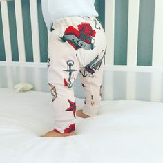 These adorable leggings feature Sailor Tattoo print. Super cute and fun for a baby boy or baby girl. These leggings are made out of a lightweight and extremely soft jersey material, perfect for your l