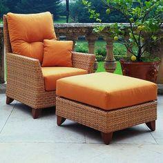 Lounge Möbel Outdoor Orange Sessel Mit Einem Hocker