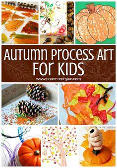 Autumn process art for kids- great fall art activities for preschoolers, kindergartners, and elementary kids.  #processart #fall #fallart #fallprocessart